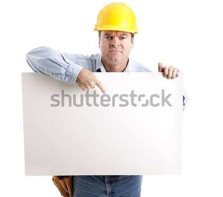 Angry Worker with Sign Stock photo © lisafx