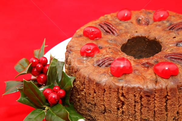 Christmas fruitcake Rood vochtig Stockfoto © lisafx