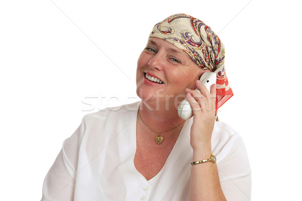 Goed nieuws telefoon vrouw kaal medische behandeling Stockfoto © lisafx