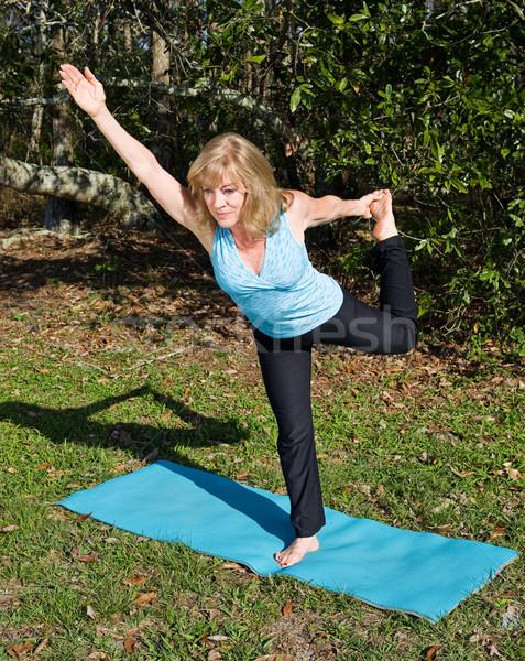 Mature Woman Pilates - One Leg Stock photo © lisafx