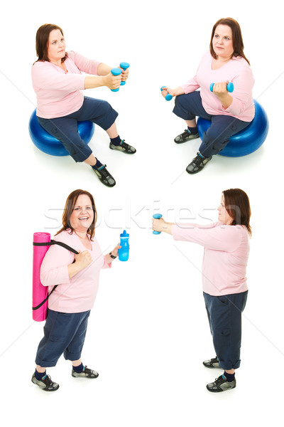 Plus Size Woman Exercise Collage Stock photo © lisafx