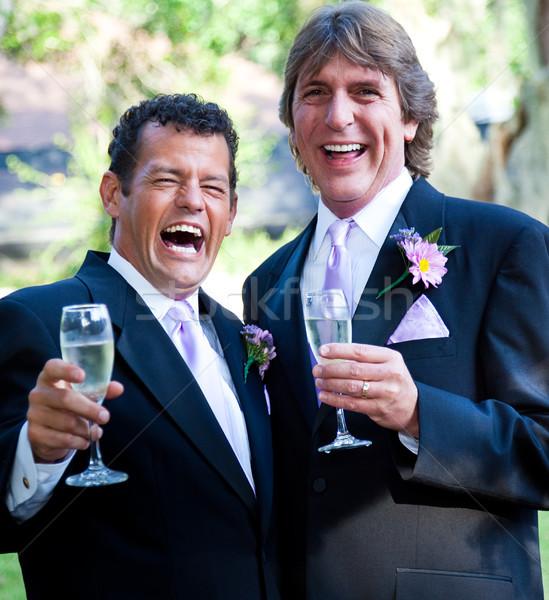 Gej ślub szampana śmiech szczęśliwy para Zdjęcia stock © lisafx