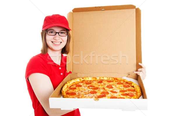 Stock photo joli pizza livraison fille Photo stock © lisafx