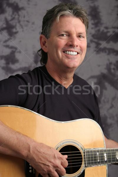 Stock Photo of Mature Male Guitarist 4 Stock photo © lisafx