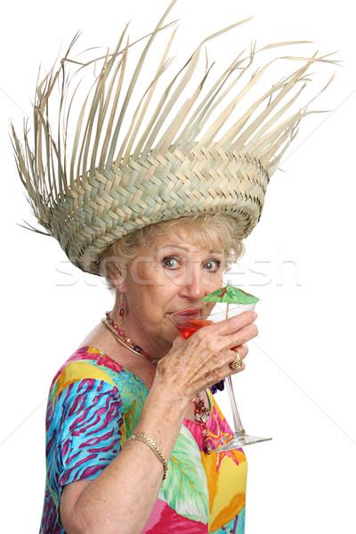 Stock fotó: Idős · hölgy · koktél · gyönyörű · nő · vakáció