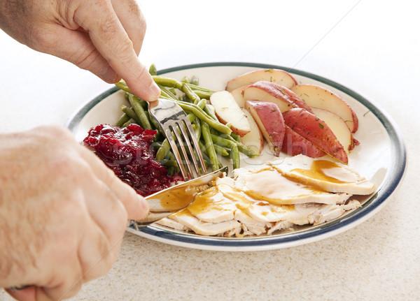 Turquia jantar mãos alimentação delicioso ação de graças Foto stock © lisafx