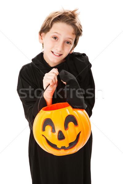 Cute мало мальчика Хэллоуин трюк изолированный Сток-фото © lisafx
