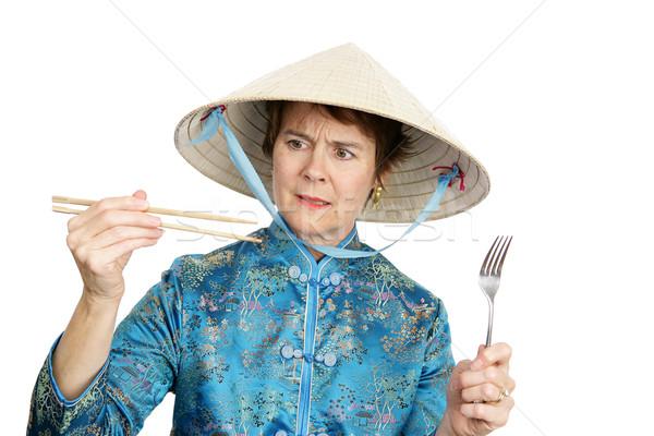 文化的 観光 食べる 箸 フォーク ストックフォト © lisafx