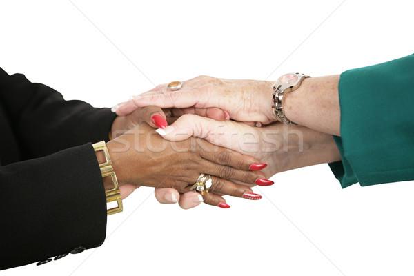 Stock fotó: Női · üzleti · csapat · kéz · a · kézben · kezek · kettő · üzletemberek