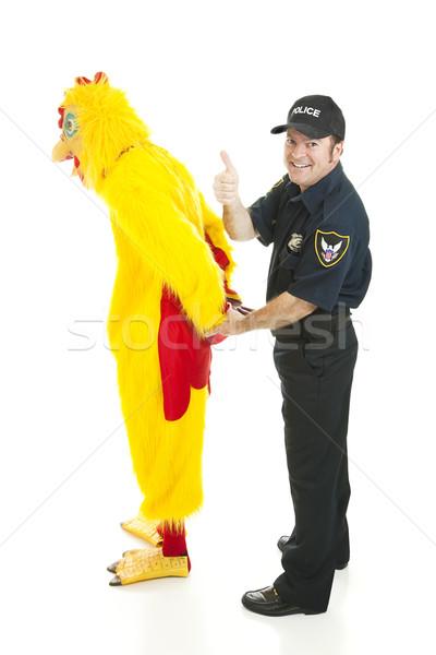Zdjęcia stock: Policjant · kurczaka · człowiek · komisarz · garnitur · odizolowany