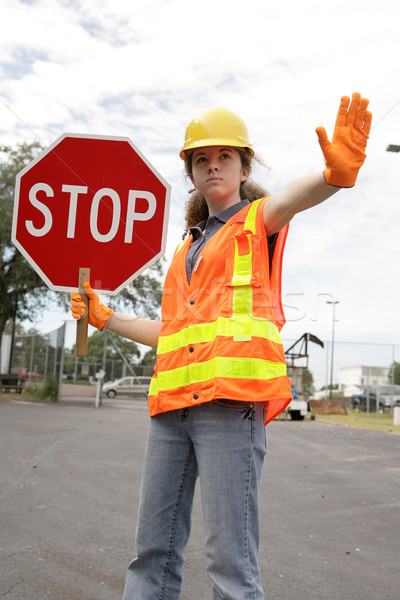 Stock photo: Road Crew Stop Sign