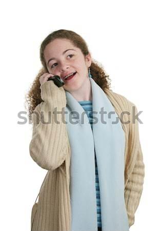 代 携帯電話 かわいい 十代の少女 孤立した ストックフォト © lisafx