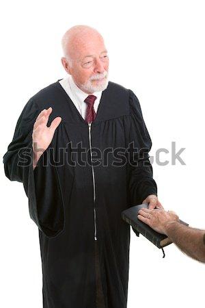 裁判官 尊厳 深刻 小槌 孤立した 白 ストックフォト © lisafx