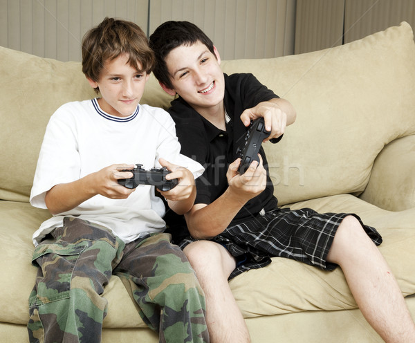 Brothers Play Video Games Stock photo © lisafx