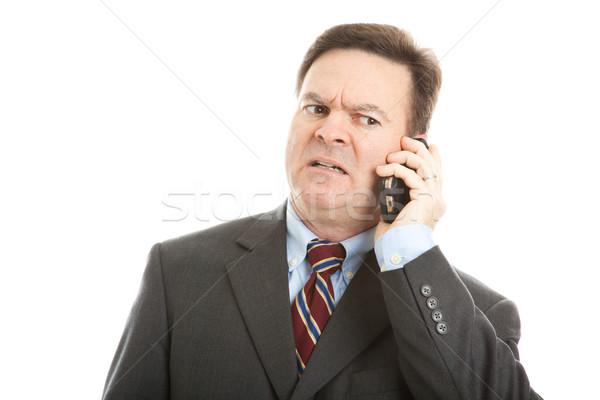 Zakenman bezorgd gezicht praten mobieltje expressief Stockfoto © lisafx