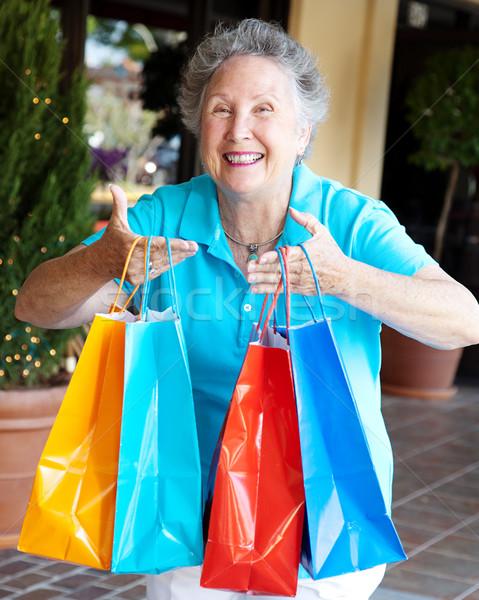 Gedwongen winkelen senior vrouw leuk Stockfoto © lisafx