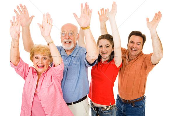 Photo stock: Famille · excitation · grands-parents · père · adolescente · tous