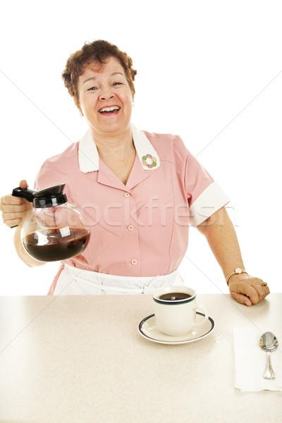 Friendly Waitress With Coffee Pot Stock photo © lisafx