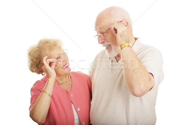 Optikai új keret idős pár mosolyog néz Stock fotó © lisafx