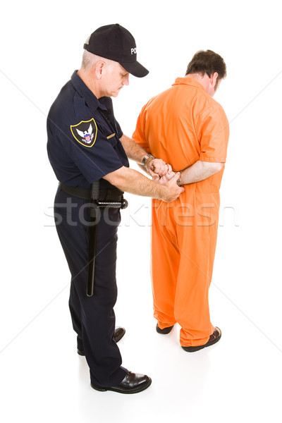 Fogoly megbilincselve rendőr narancs rendőrtiszt egészalakos Stock fotó © lisafx
