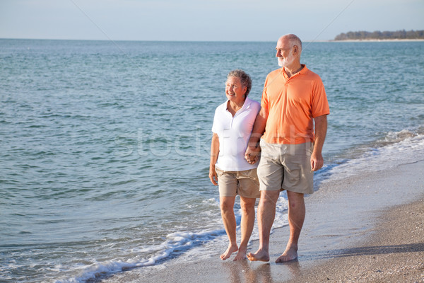 Senior Couple - Romantic Beach Stroll Stock photo © lisafx