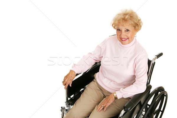 Stock fotó: Idős · hölgy · tolószék · vízszintes · csinos · nő