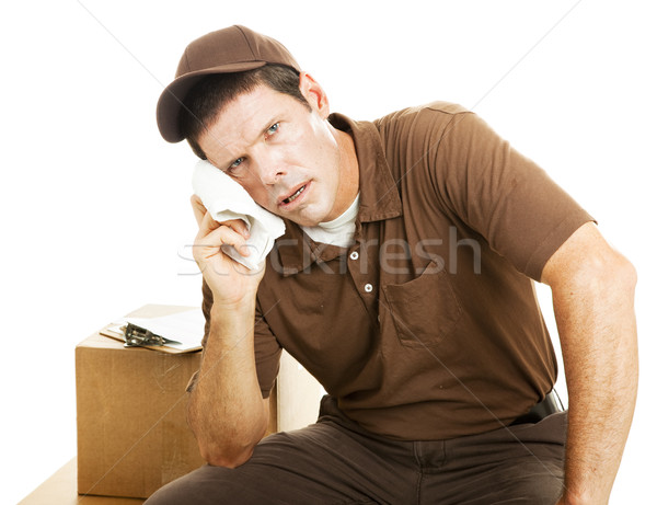 исчерпанный доставки парень перерыва изолированный белый Сток-фото © lisafx