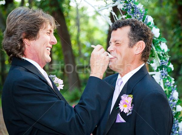 Homo bruiloft eten cake een bruidegom Stockfoto © lisafx