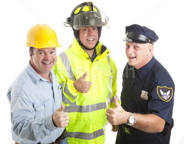 Forza lavoro amichevole lavoratori pompiere poliziotto Foto d'archivio © lisafx