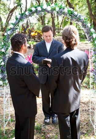 Matrimonio gay giardino gay maschio Coppia sposato Foto d'archivio © lisafx