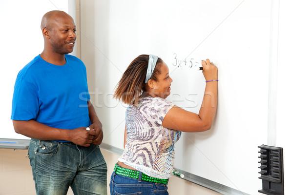 Stockfoto: Afro-amerikaanse · leraar · student · knap · math · boord