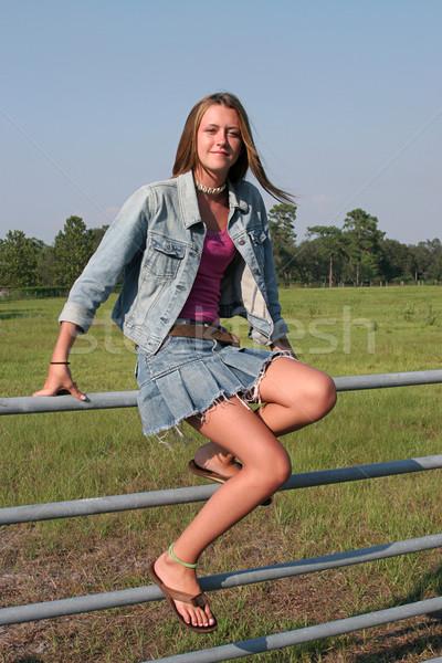 Chica de campo cerca hermosa granja nina sesión Foto stock © lisafx