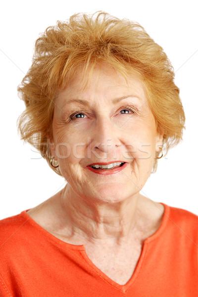 Rouge supérieurs plein d'espoir portrait joli dame Photo stock © lisafx