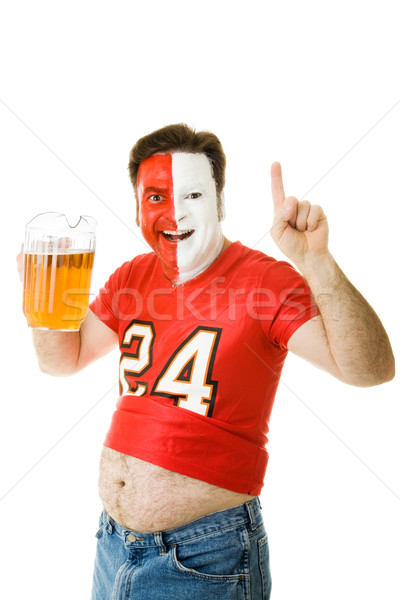 Spor fan bira göbek boyalı yüz Stok fotoğraf © lisafx