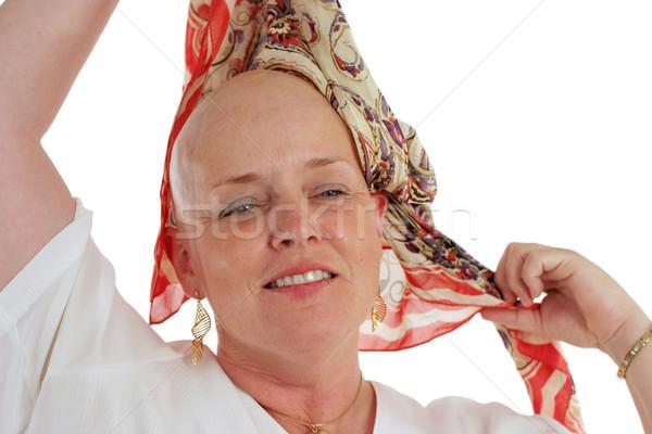 Mooie overlevende sjaal kaal hoofd vierde Stockfoto © lisafx