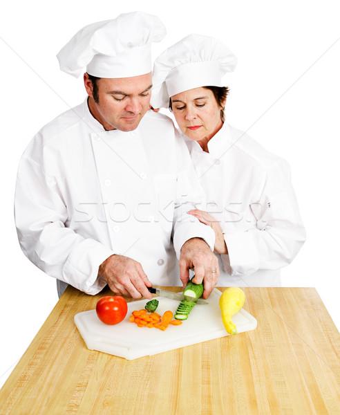 Chefs Chop Vegetables Stock photo © lisafx