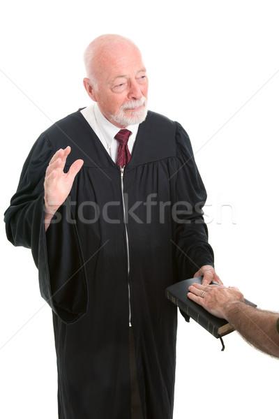 Juez testigo Biblia aislado blanco Foto stock © lisafx