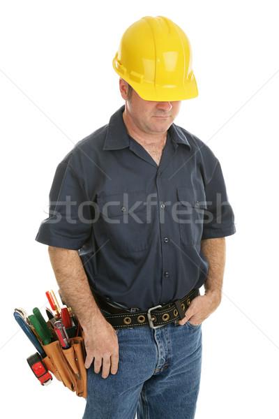 Anónimo de trabajo hombre trabajador de la construcción aislado blanco Foto stock © lisafx