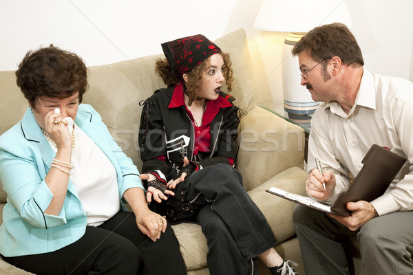 Mamma me Crazy teen girl terapeuta madre Foto d'archivio © lisafx
