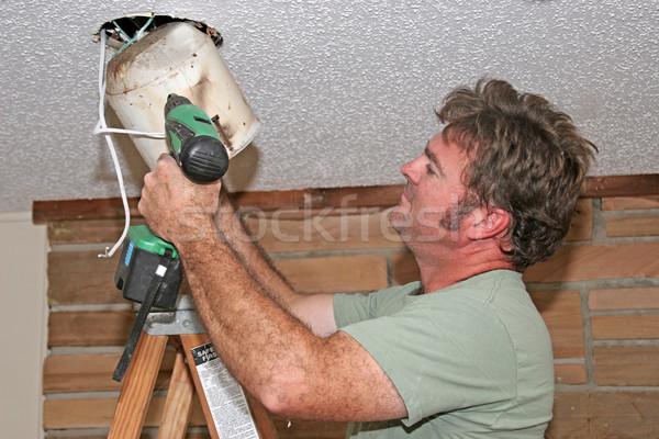 электрик свет потолок строительство мужчин синий Сток-фото © lisafx