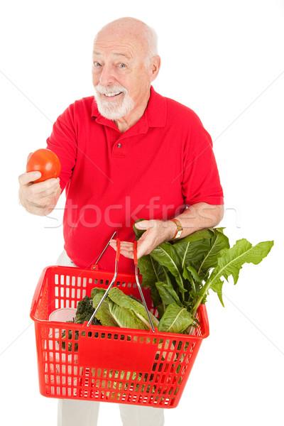 Starszy człowiek sklepów produkować zdrowych zakupy Zdjęcia stock © lisafx
