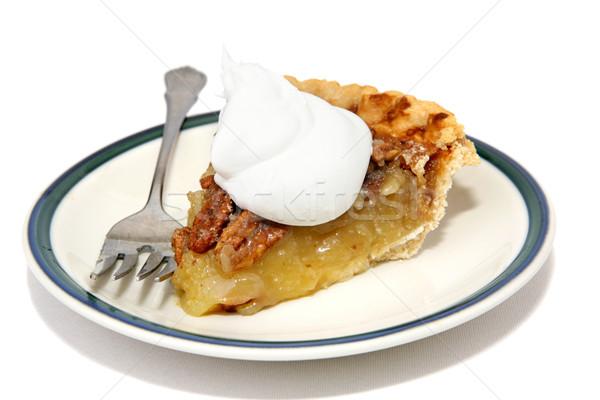Tranche tarte chaud délicieux crème fouettée isolé Photo stock © lisafx