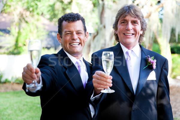 Stockfoto: Homo · bruiloft · paar · champagne · toast · knap