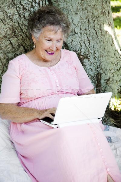 Okuma e-mail açık havada kıdemli kadın oturma Stok fotoğraf © lisafx