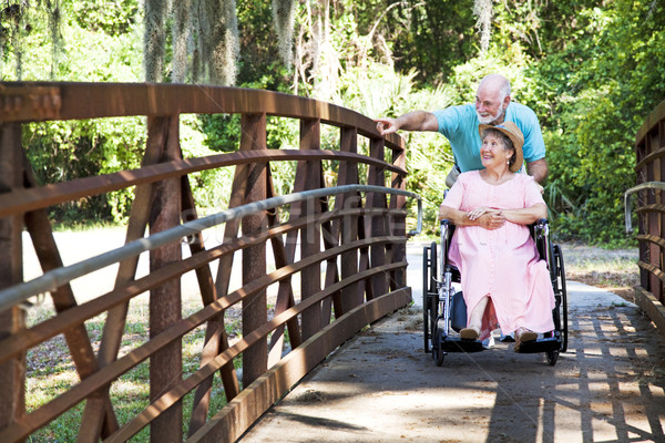 Disabled Senior Couple in Park Stock photo © lisafx