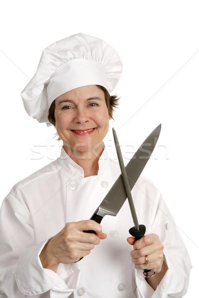 Friendly Chef Sharpens Knife Stock photo © lisafx