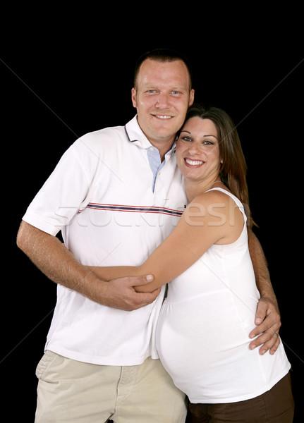 Feliz expectante pais sorridente grávida casal Foto stock © lisafx