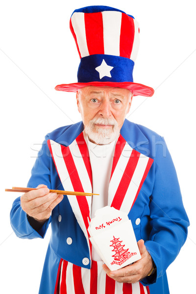 Uncle Sam Eats Chinese Takeout Stock photo © lisafx