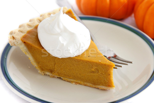 Pumpkin Pie Slice With Cream Topping Stock photo © lisafx