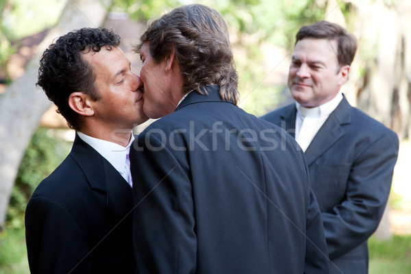 Gay Marriage - Kiss the Groom Stock photo © lisafx